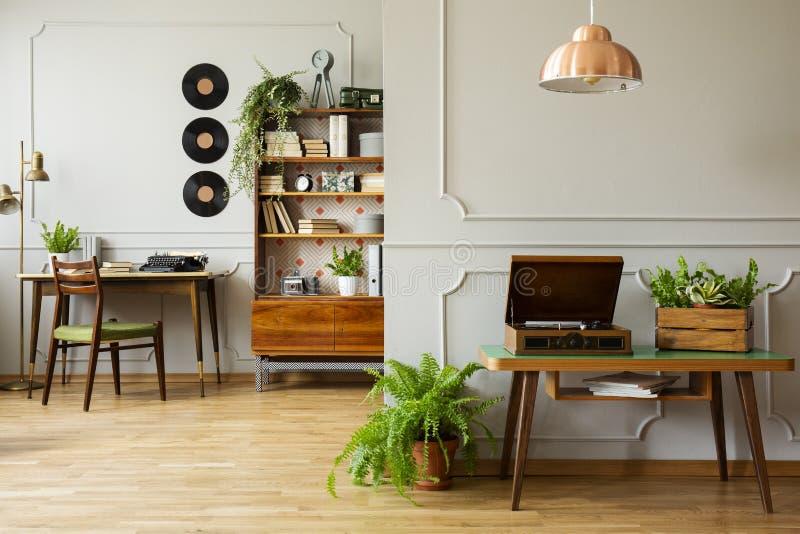 Люстра над винтажным патефоном и коробкой с зелеными растениями в винтажном интерьере домашнего офиса стоковые фотографии rf