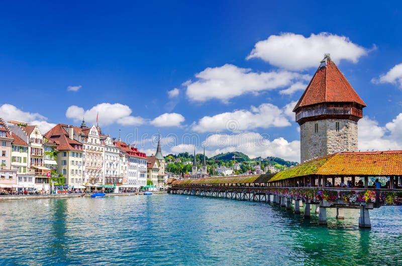 Люцерн, Швейцария - мост часовни стоковые фотографии rf