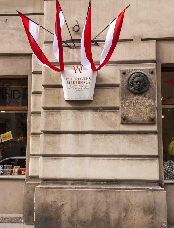 Людвиг ван Бетховен - мемориальная плита стоковые изображения