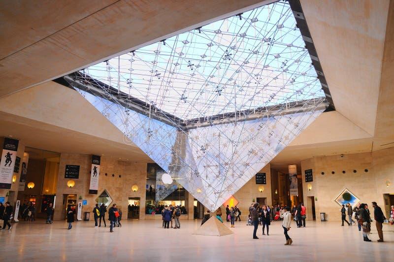 Люди внутри Лувра (Musee du Жалюзи) стоковые изображения