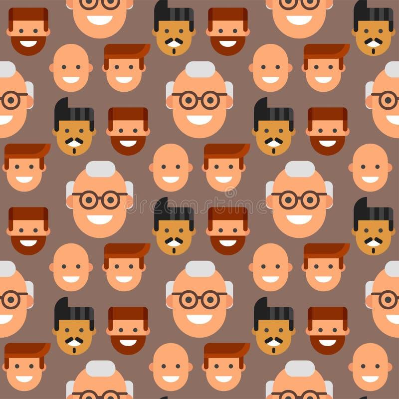 Люди возглавляют людей команды характера приятельства картины портрета иллюстрацию вектора персоны парня безшовных счастливых мол иллюстрация вектора