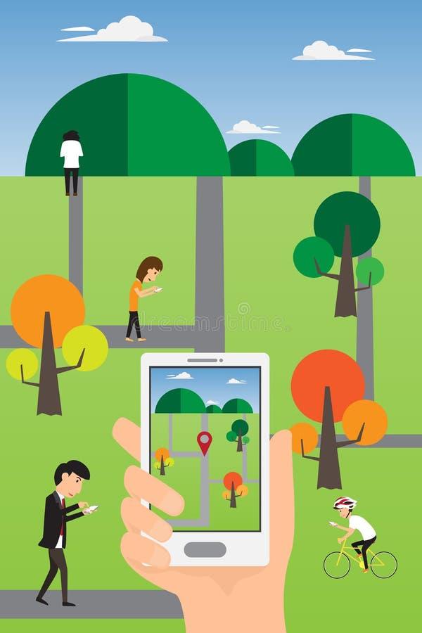 Люди вручают используя умный телефон для того чтобы сыграть онлайн игру geolocation иллюстрация вектора