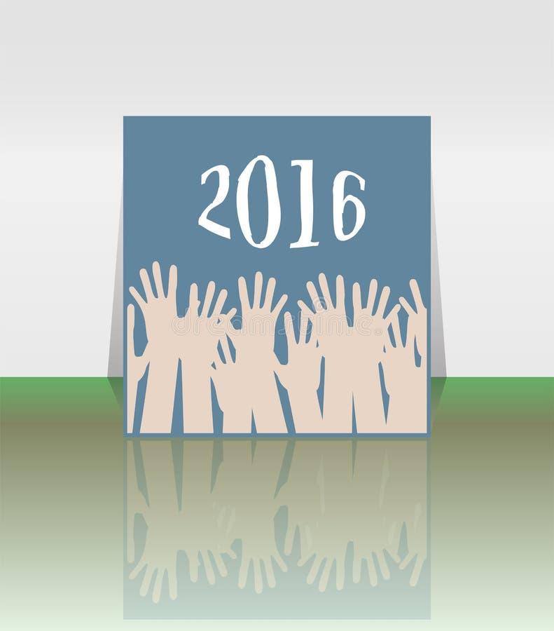 Люди вручают установленный символ Надпись 2016 в восточном стиле на абстрактной предпосылке бесплатная иллюстрация