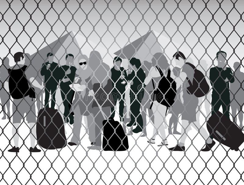 Люди в лагере беженцев иллюстрация вектора