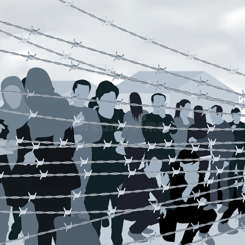 Люди в лагере беженцев иллюстрация штока