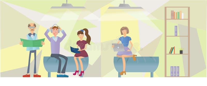 Люди в интерьере офиса также вектор иллюстрации притяжки corel бесплатная иллюстрация