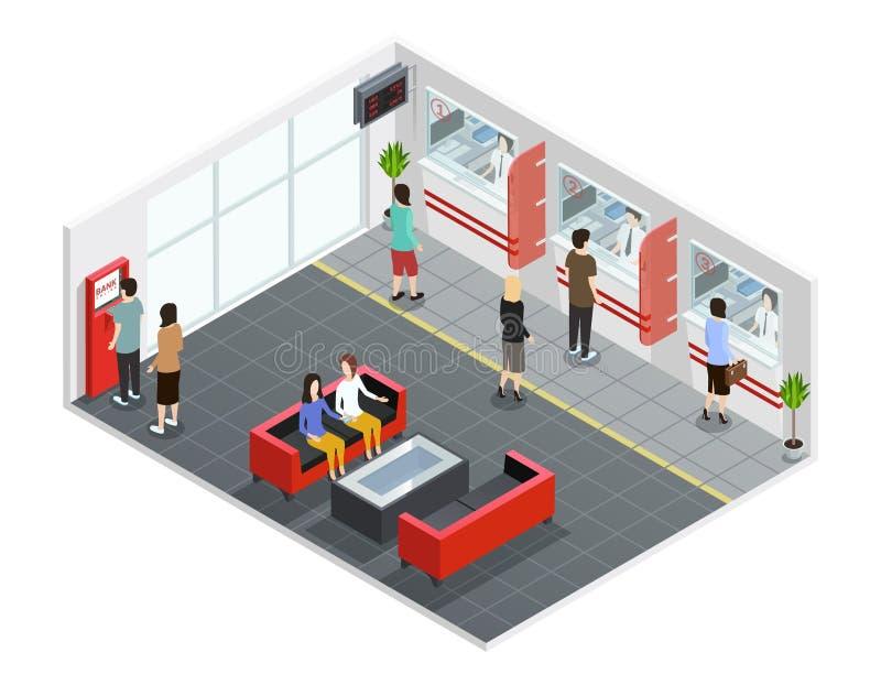 Люди в иллюстрации банка равновеликой иллюстрация вектора