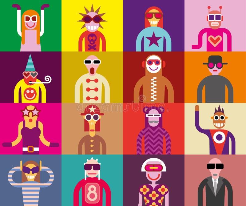 Люди в солнечных очках - смешных портретах иллюстрация вектора