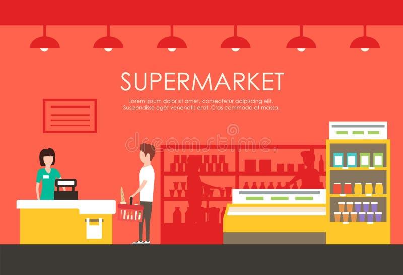 Люди в супермаркете Иллюстрация вектора плоская Гастроном иллюстрация вектора