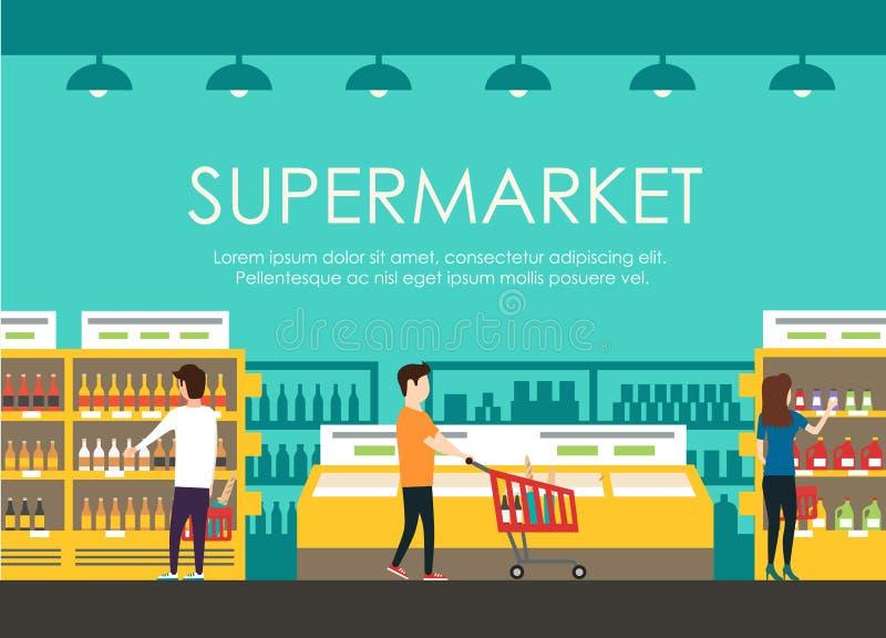 Люди в супермаркете Иллюстрация вектора плоская Гастроном иллюстрация штока