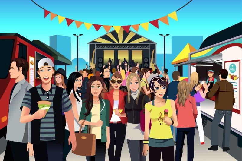Люди в фестивале еды улицы иллюстрация вектора