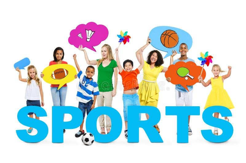 Люди в фото с концепцией спорт стоковая фотография