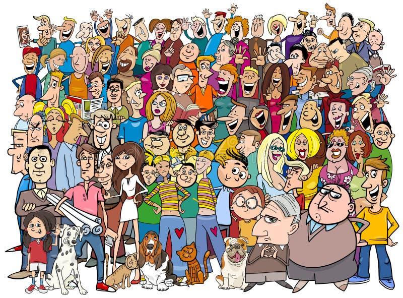 Люди в шарже толпы бесплатная иллюстрация