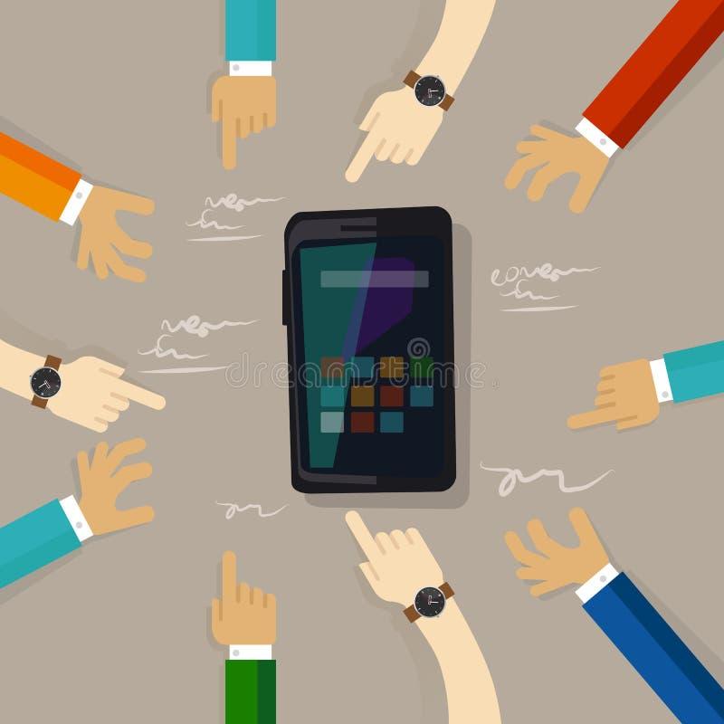 Люди группы клиента обзора технологии умного телефона передвижные вручают указывать на сыгранность экрана современную иллюстрация штока
