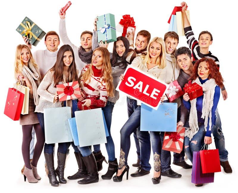 Люди группы с продажей доски. стоковая фотография