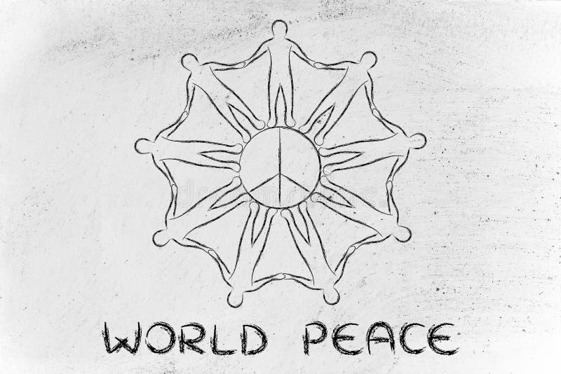Люди держа руки для международного мира стоковое изображение rf