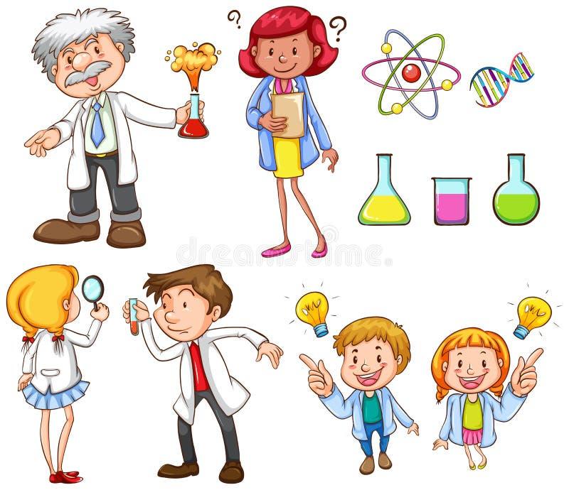 Люди делая различную научную деятельность бесплатная иллюстрация