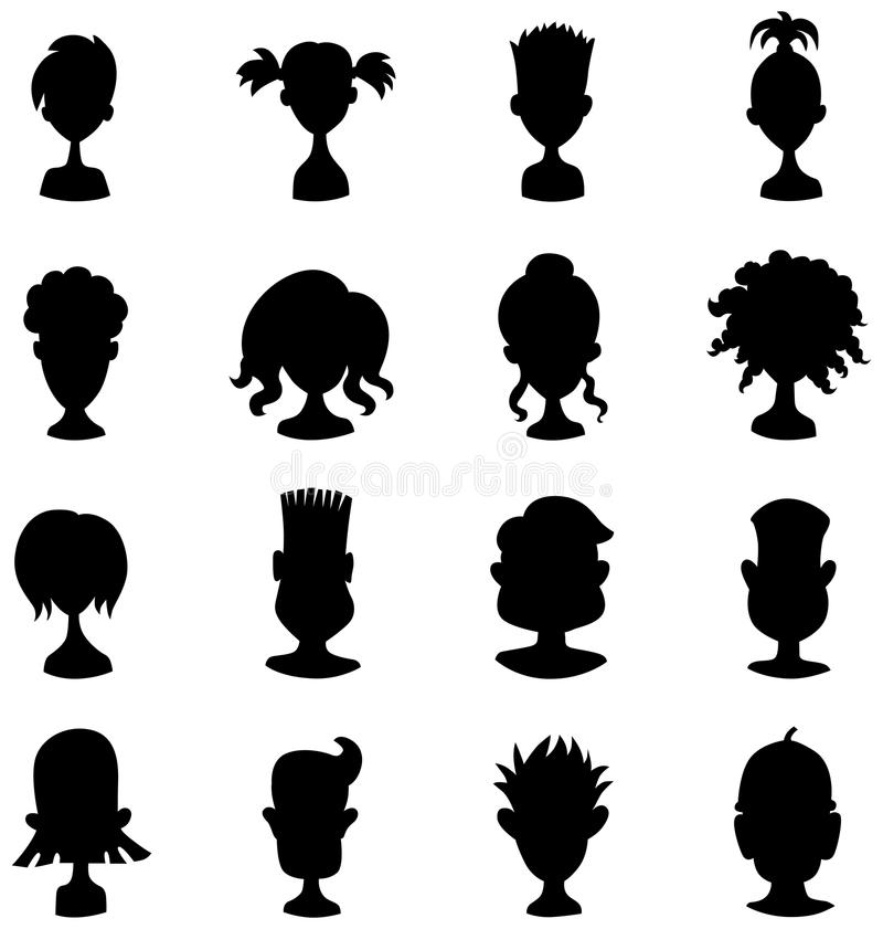 Люди, женщины, комплект значка изображения профиля воплощения ребенка черный иллюстрация штока