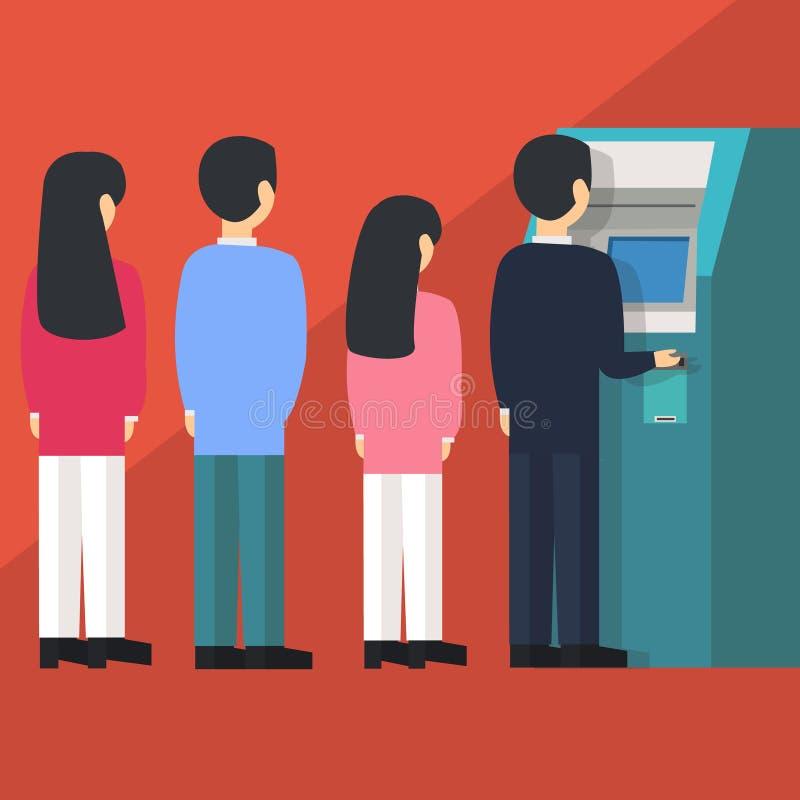 Люди ждать в линии queue для того чтобы нарисовать деньги от иллюстрации вектора шаржа банкомата ATM самообслуживания бесплатная иллюстрация