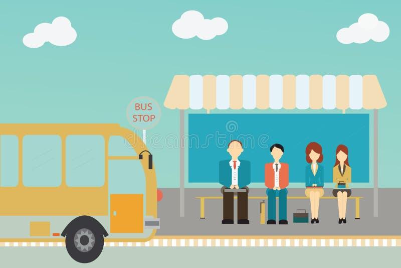 Люди ждать шину бесплатная иллюстрация