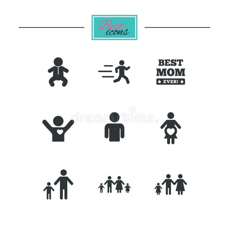 Download Люди, значки семьи Знак материнства Иллюстрация вектора - иллюстрации насчитывающей руководитель, людск: 81804773