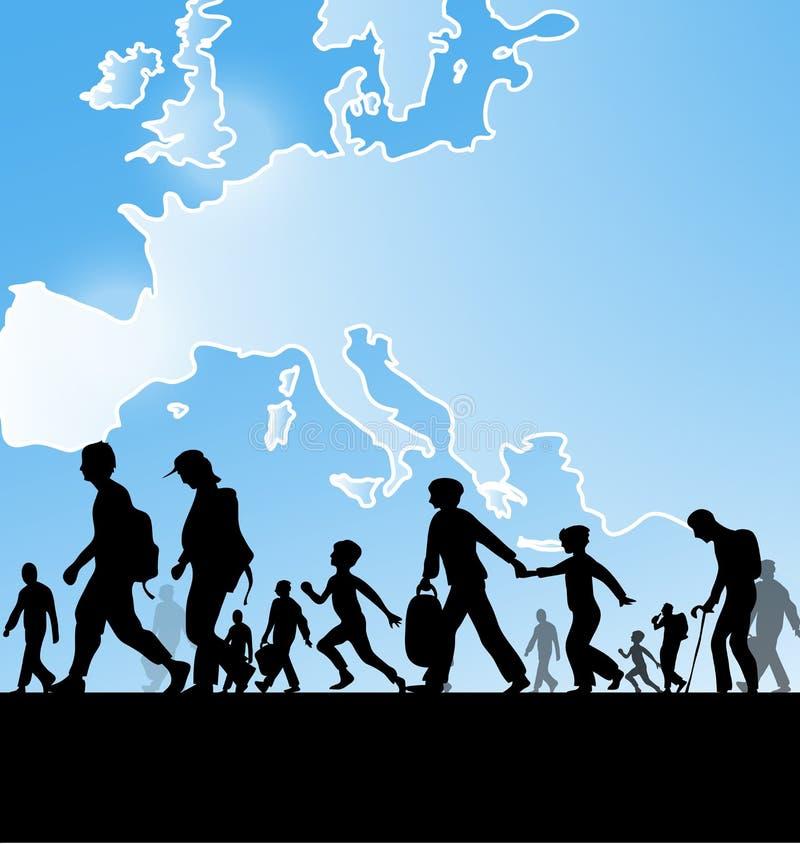 Люди иммиграции иллюстрация вектора
