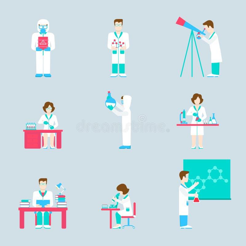 Люди исследовательской лабаратории науки и комплект значка объектов плоский иллюстрация вектора
