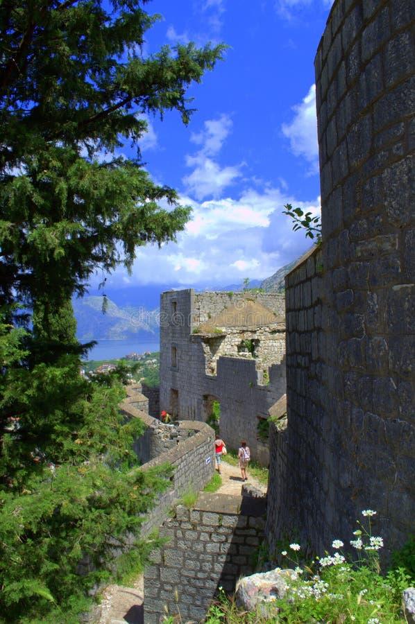 Люди исследуя старую крепость Kotor, Черногорию стоковые фотографии rf