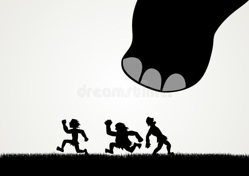 Люди исчезая паника от гигантского шага динозавра бесплатная иллюстрация