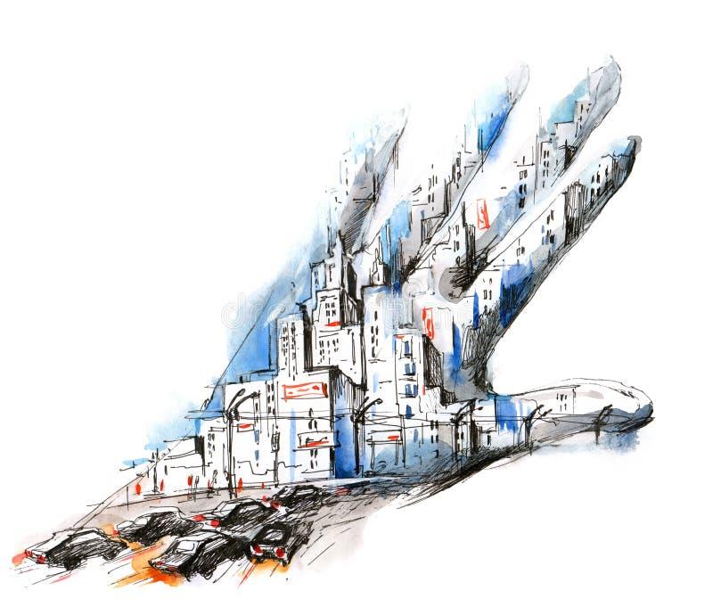 Люди и город бесплатная иллюстрация
