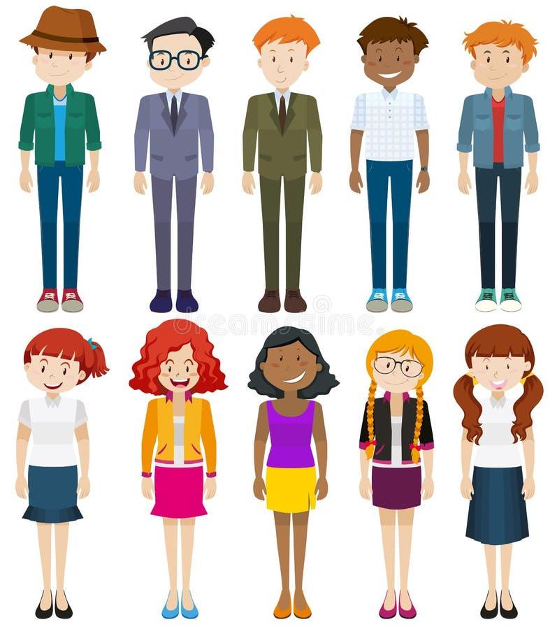 Люди и женщины в различных костюмах иллюстрация вектора