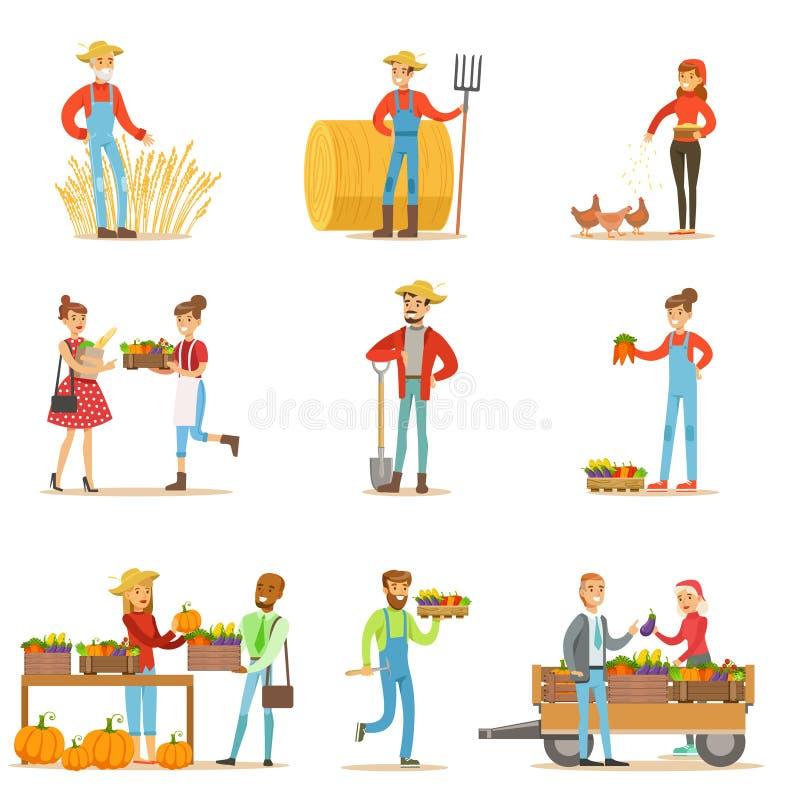 Люди и женщины фермеров работая на ферме и продавая органические овощи сельского хозяйства на естественном свежем товарном рынке иллюстрация штока