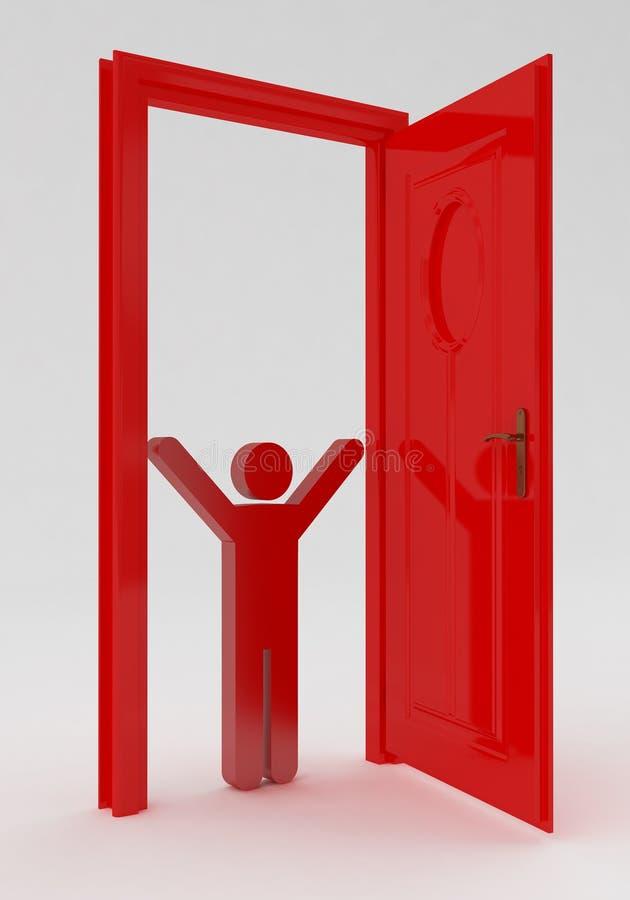 Люди и красная дверь бесплатная иллюстрация