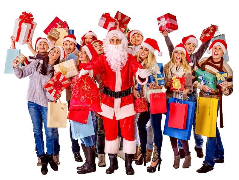 Люди и Санта группы изолировано стоковая фотография rf