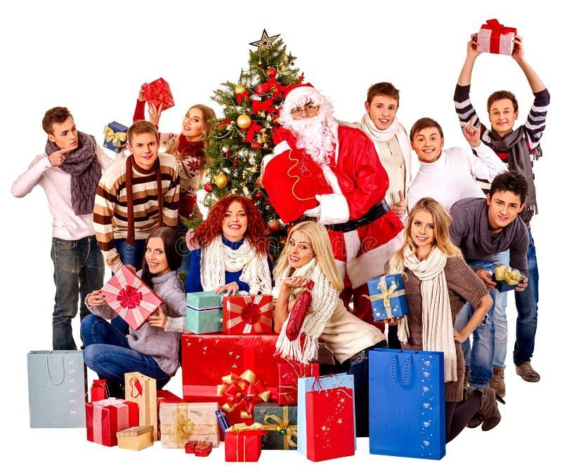 Люди и Санта группы стоковое изображение rf