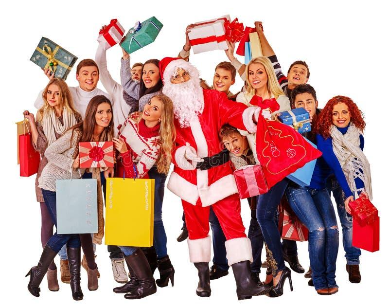 Люди и Санта группы стоковое изображение