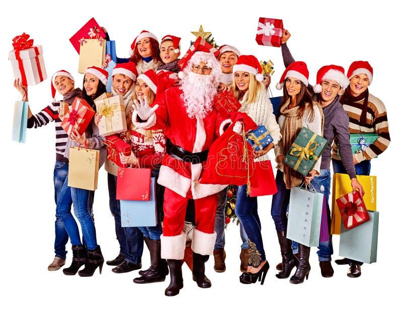 Люди и Санта группы стоковая фотография rf
