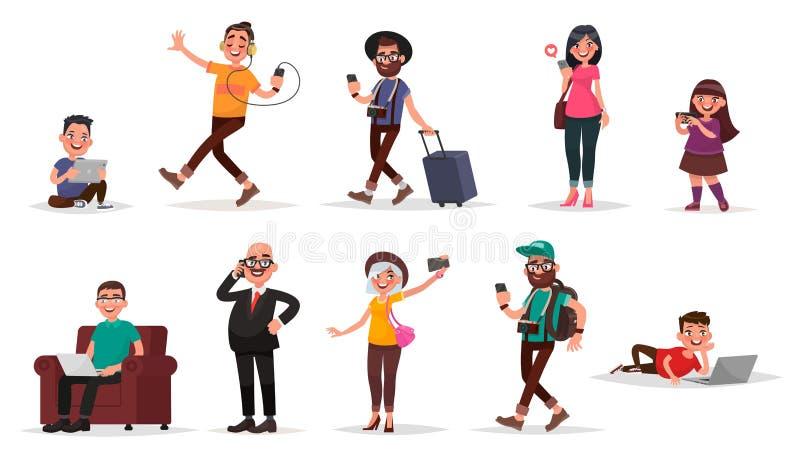 Люди и устройства Комплект детей, молодости и взрослых с их иллюстрация штока