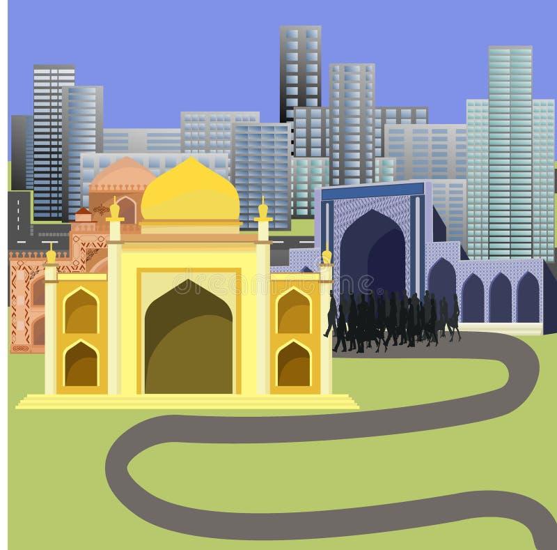 Люди идя к мечети в центре города бесплатная иллюстрация