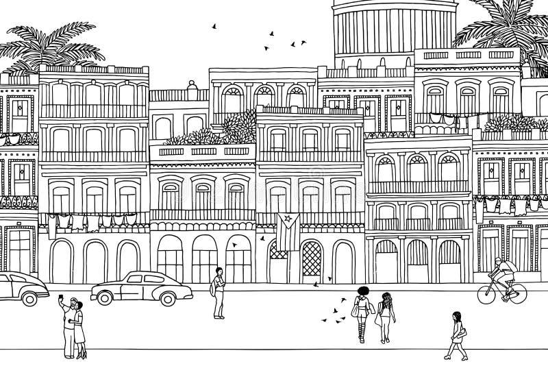 Люди идя через Гавану иллюстрация штока