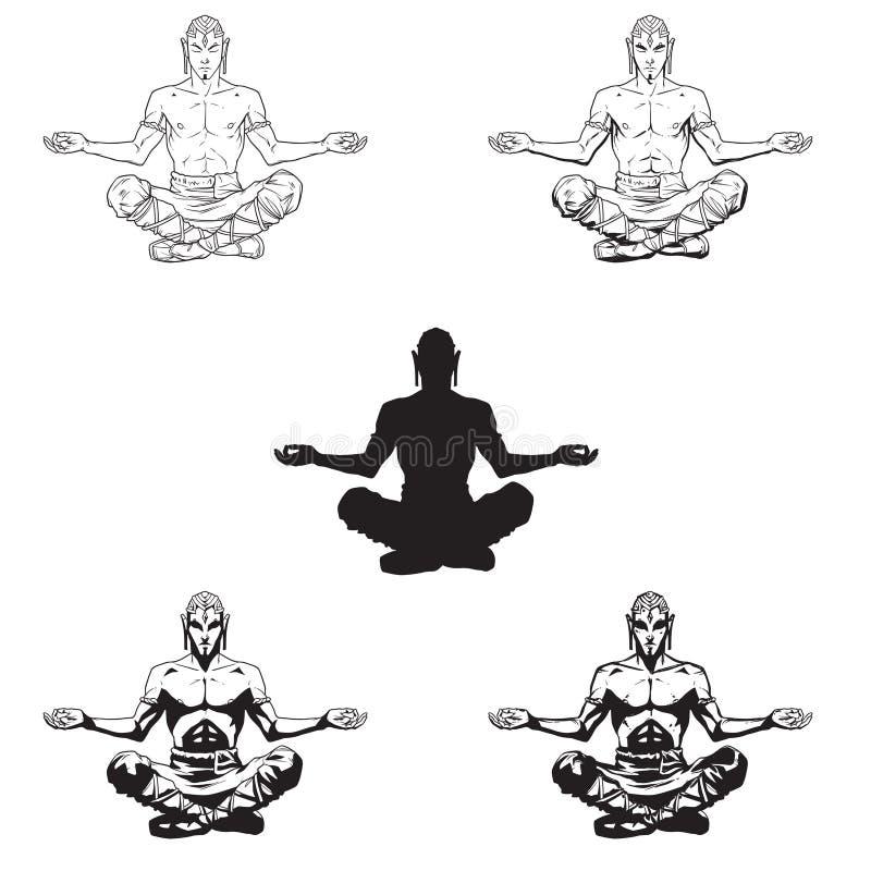 Люди йоги вектора в положении лотоса иллюстрация штока