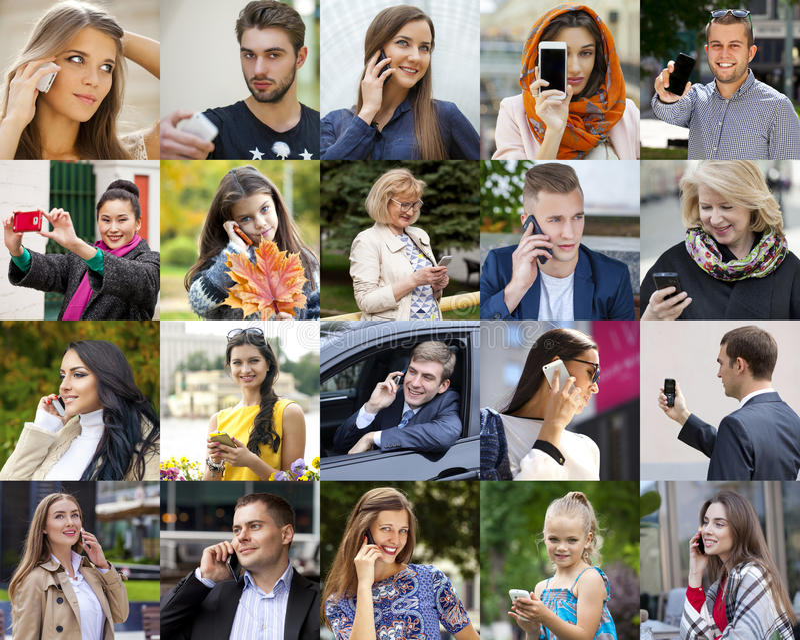 Люди коллажа вызывая телефоном стоковое фото