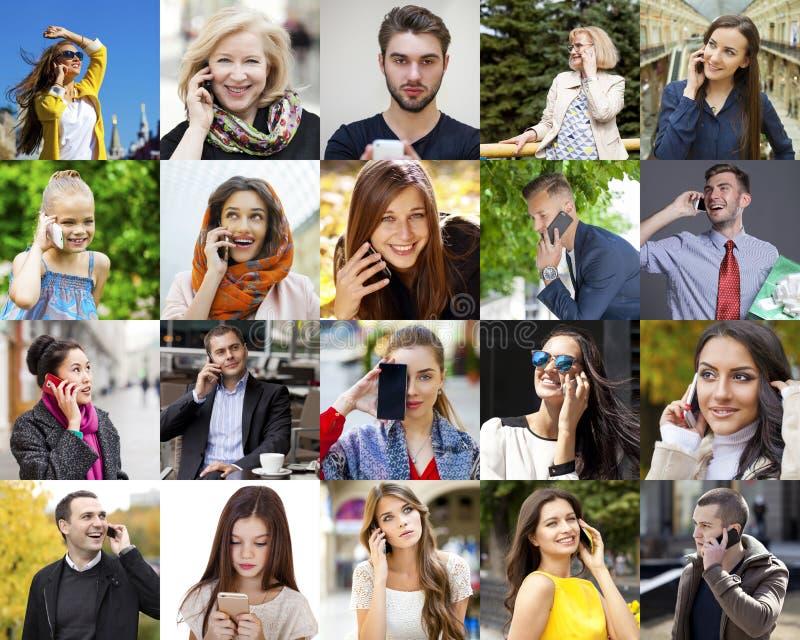 Люди коллажа вызывая телефоном стоковое фото rf