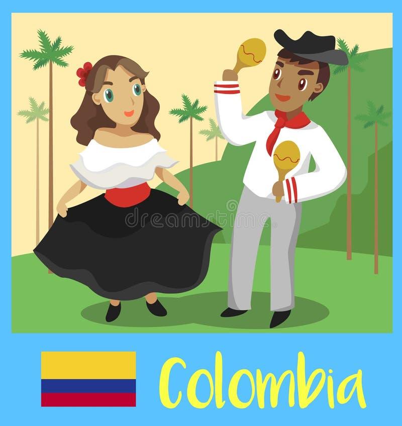 Люди Колумбии иллюстрация штока
