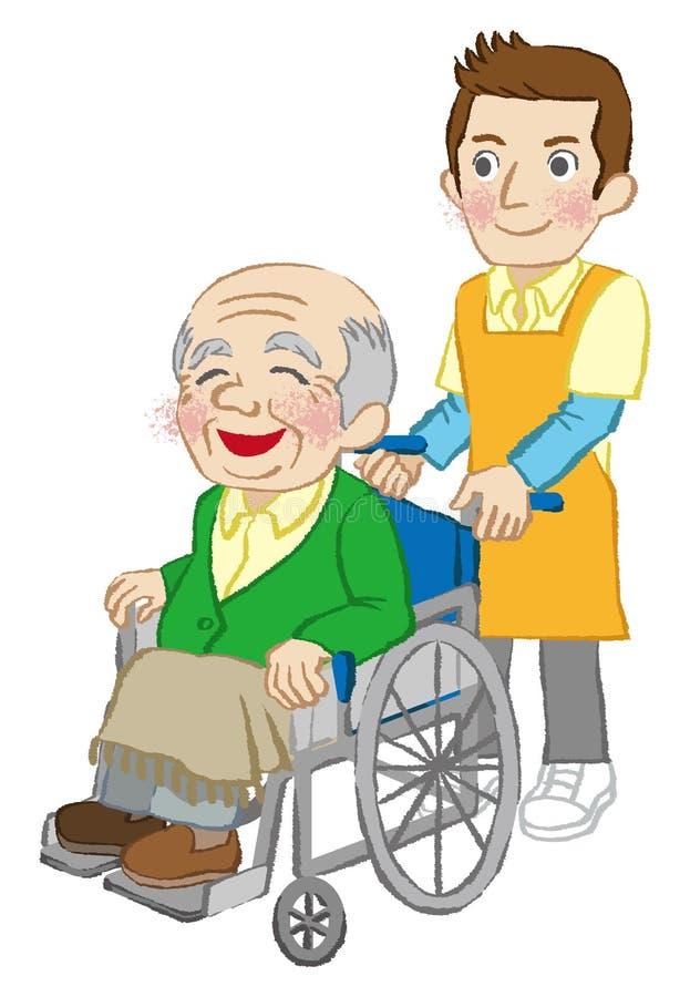 Люди кресло-коляскы старшие и попечитель, белая предпосылка иллюстрация вектора