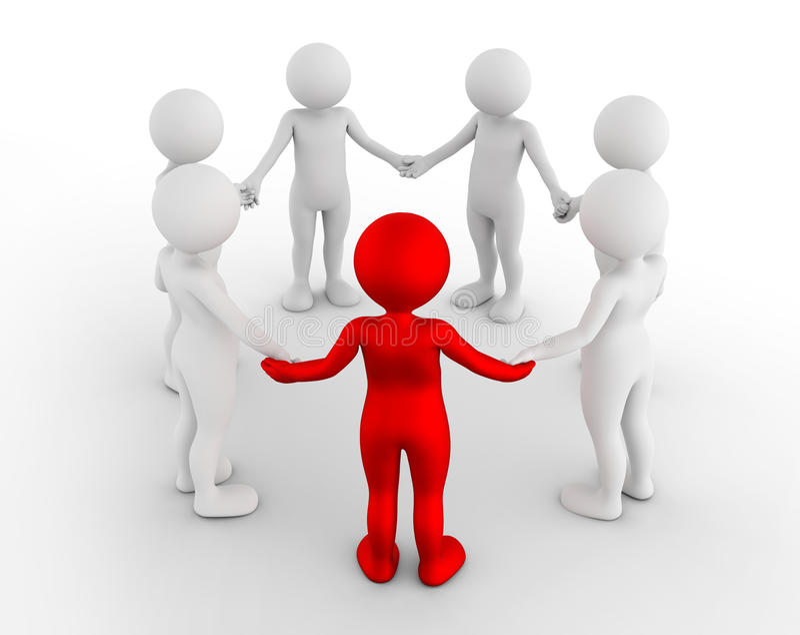 Люди Мультяшки держа руки в круге Группа поддержкиы, сыгранность, концепция бизнеса лидер бесплатная иллюстрация
