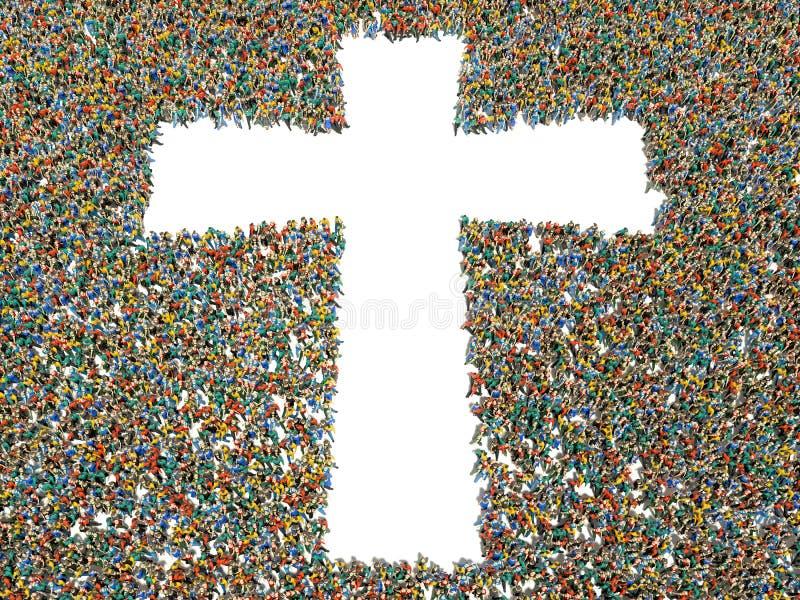 Люди находя христианство, вероисповедание и вера иллюстрация штока