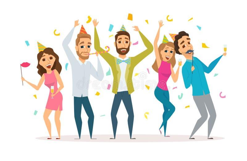 Люди на вечеринке по случаю дня рождения иллюстрация вектора