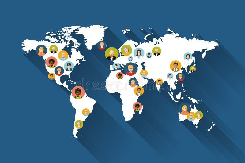 Люди на карте мира иллюстрация вектора