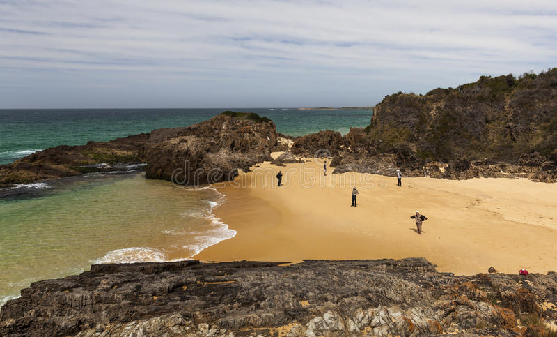 Люди на пляже пункта Mullimbura NSW australites стоковые фотографии rf